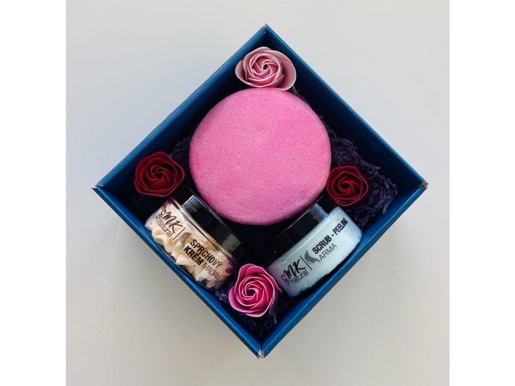 Dárkový balíček dámský - scrub - sprchový krém - mýdlová houba